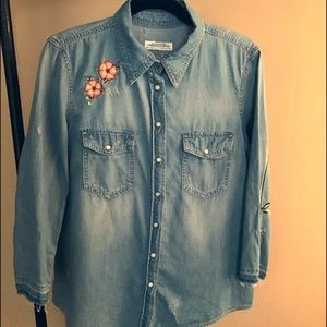 Zara Pearl Snap Denim Shirt with Flowers